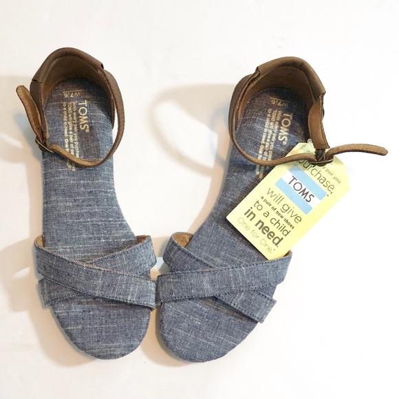 732a6580ba564 Toms Correa Chambray Denim Ankle Strap Sandal